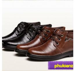 Giày da nam mùa thu đông cổ cao lót nhung G003