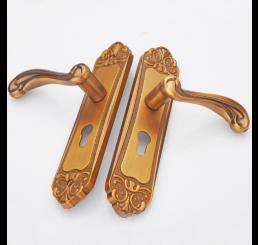 Khóa cửa tay cầm mạ vàng đồng, bộ khóa cửa tay gạt hợp kim nhôm